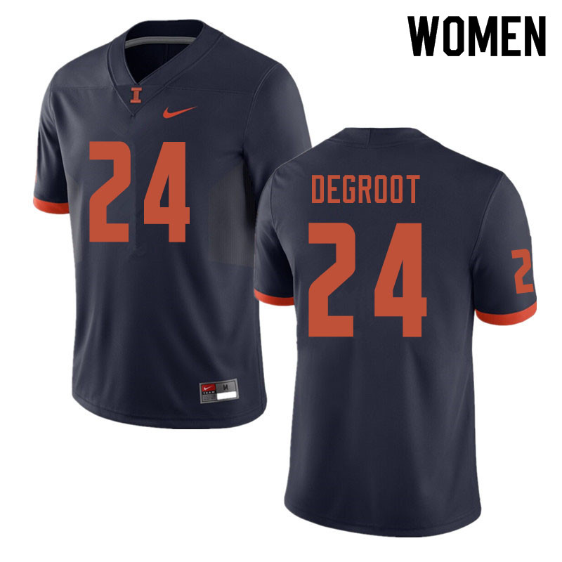 Women #24 Dawson DeGroot Illinois Fighting Illini College Football Jerseys Sale-Navy